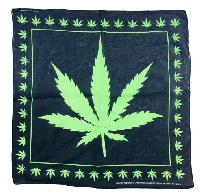 Bandana-Black with Large Green Leaf [Small Leaf Border]